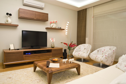 Night「A modern styled living room with a lot of wood furniture」:スマホ壁紙(4)