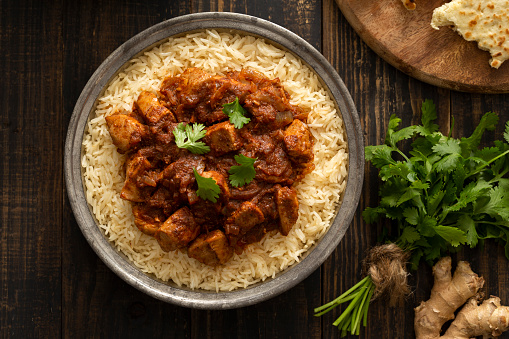 Indian Food「Indian Food Chicken Vindaloo Curry over Basmati Rice」:スマホ壁紙(17)