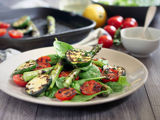grilled asparagus,courgette and cherry tomatoes salad:スマホ壁紙(壁紙.com)