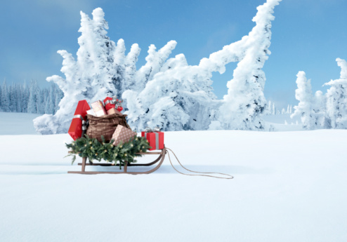 Snow sled「a sled full of Christmas gifts」:スマホ壁紙(9)