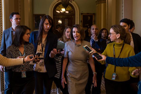Politics「House Speaker Nancy Pelosi And Sen. Schumer Speak To Media After President Trump Announces Deal To End To Government Shutdown」:写真・画像(13)[壁紙.com]