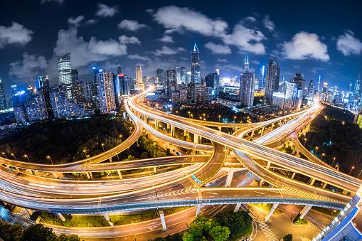 Shanghai「Fisheye View of a Road Intersection at Night」:スマホ壁紙(3)