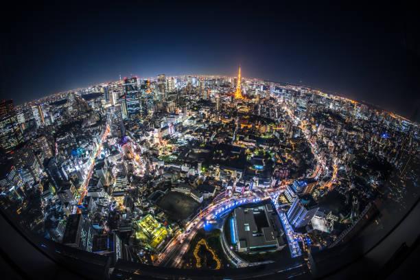 Fisheye View of Tokyo at Night:スマホ壁紙(壁紙.com)