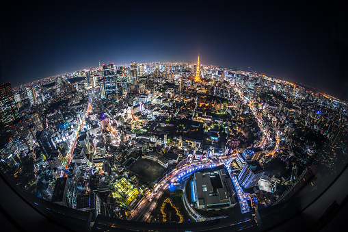 Urban Skyline「Fisheye View of Tokyo at Night」:スマホ壁紙(10)