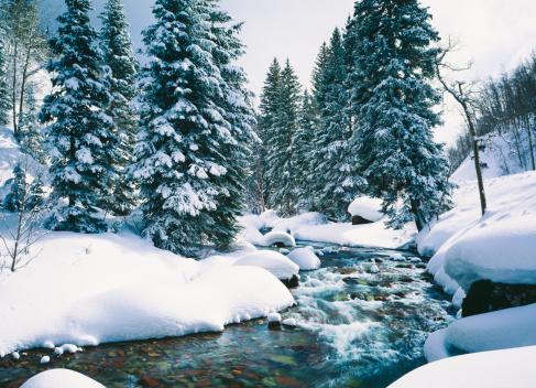 Wilderness Area「Snowy Cascade Creek In Lake Tahoe, California」:スマホ壁紙(7)