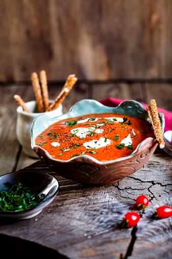 Sour Cream「Tomato soup with sour cream and sesame sticks」:スマホ壁紙(12)