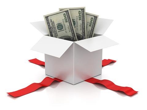 American One Hundred Dollar Bill「Open white box and one hundred dollar bill .」:スマホ壁紙(5)