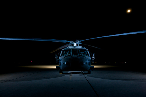 Helicopter「A UH-60 Black Hawk helicopter lit up by multiple external flash units, Tikrit, Iraq.」:スマホ壁紙(2)