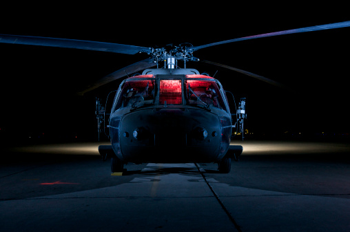 Helicopter「A UH-60 Black Hawk helicopter lit up by multiple external flash units, Tikrit, Iraq.」:スマホ壁紙(1)