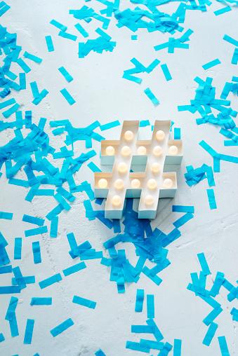 Surrounding「Illuminated hashtag sign surrounded by confetti」:スマホ壁紙(4)