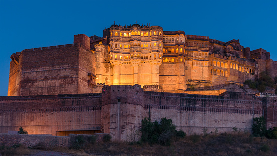 Jodhpur「Illuminated Mehrangarh Fort Panorama Jodhpur India」:スマホ壁紙(5)