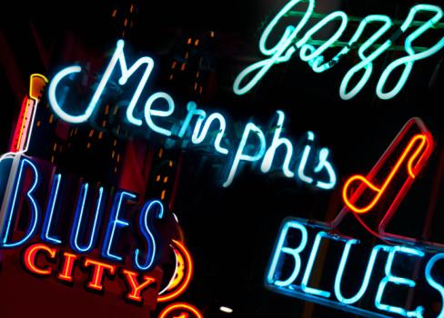Blues Music「Illuminated signs on Beale Street in Memphis」:スマホ壁紙(16)