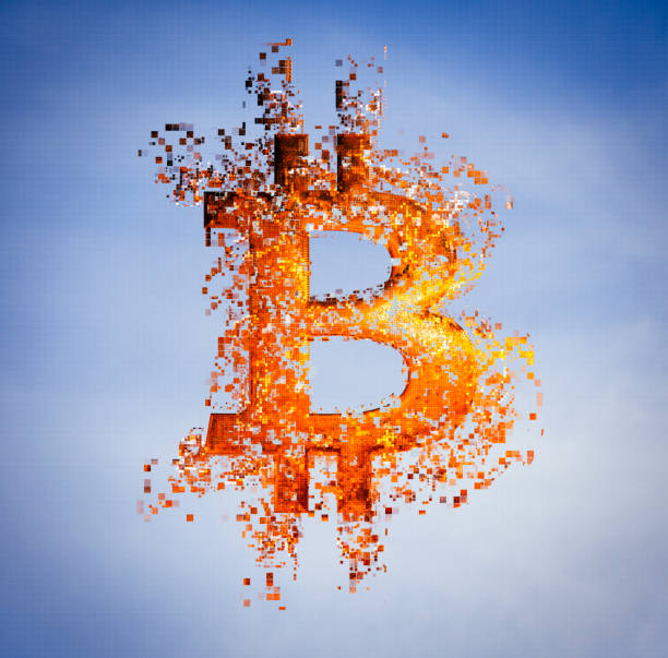 Pixelated bitcoin symbol in sky:スマホ壁紙(壁紙.com)
