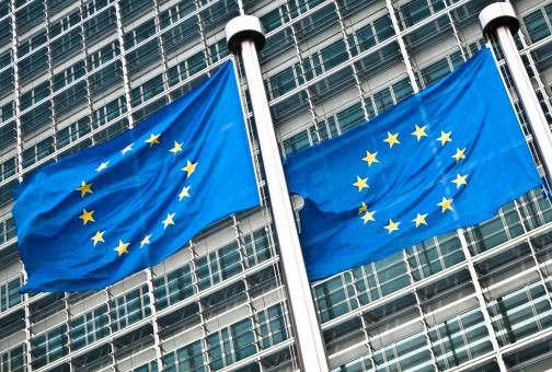 Belgium「Pair of EU flags at European Commission, Brussels」:スマホ壁紙(3)