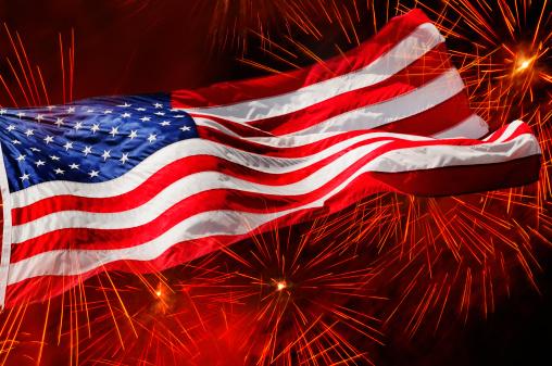 Patriotism「USA, New York, New York City, Fourth of july fireworks with American flag」:スマホ壁紙(3)