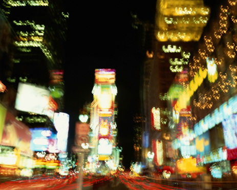 ネオン「USA, New York, New York City, Times Square at night (blurred)」:スマホ壁紙(13)