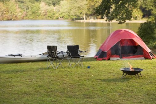 Camping Chair「Campsite by lake」:スマホ壁紙(3)