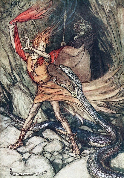 Mythology「Ohe! Ohe! Terrible dragon, oh, swallow me not! Illustration for The Rhinegold and The Valkyrie by」:写真・画像(10)[壁紙.com]