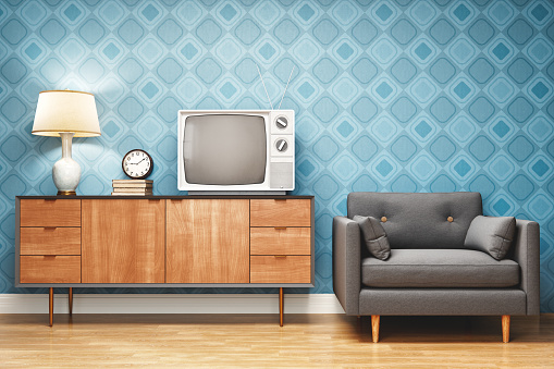 Old-fashioned「Retro Style Living Room Interior Design」:スマホ壁紙(2)