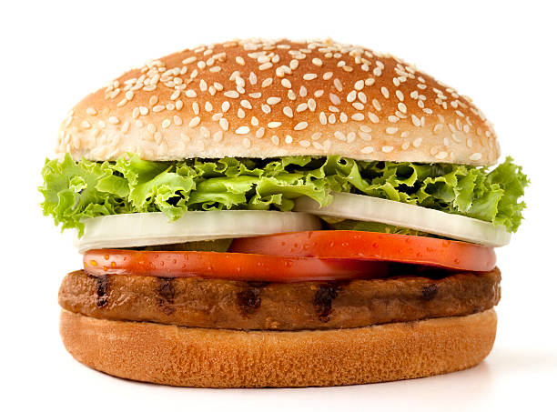 Simple meat burger isolated on white:スマホ壁紙(壁紙.com)