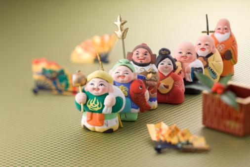 お正月「Japanese seven deities of luck」:スマホ壁紙(7)