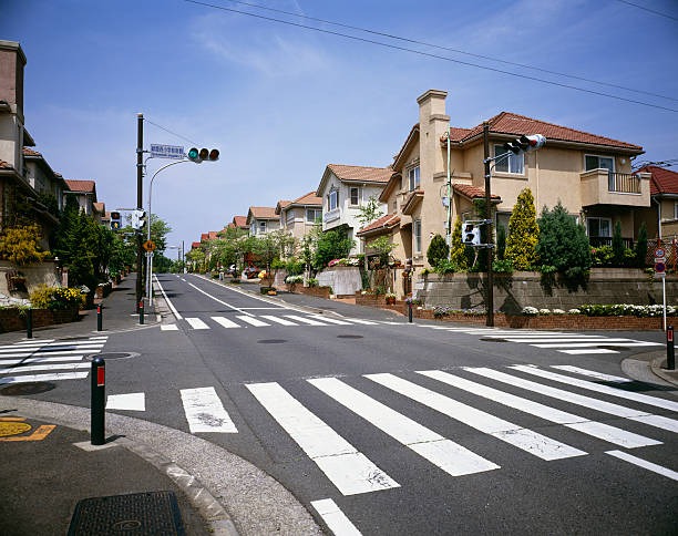 Traffic light and crosswalk in residential district, Ryokuentoshi, Kanagawa Prefecture, Japan:スマホ壁紙(壁紙.com)