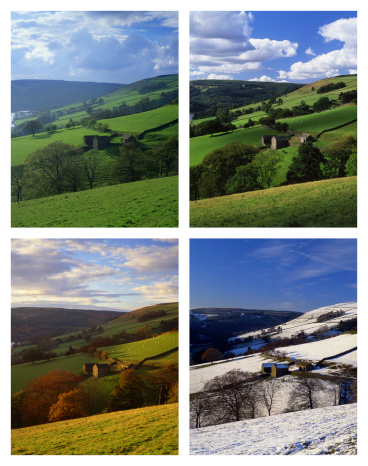 Derbyshire「Countryside scene depicted in four seasons at the Peak District National Park in Derbyshire.」:スマホ壁紙(13)