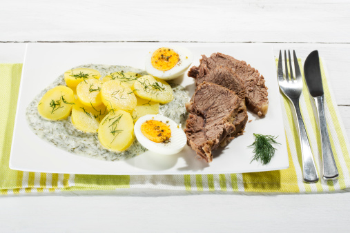 Herb Sauce「Beef with dill sauce, potatoes and boiled egg on plate, close up」:スマホ壁紙(14)