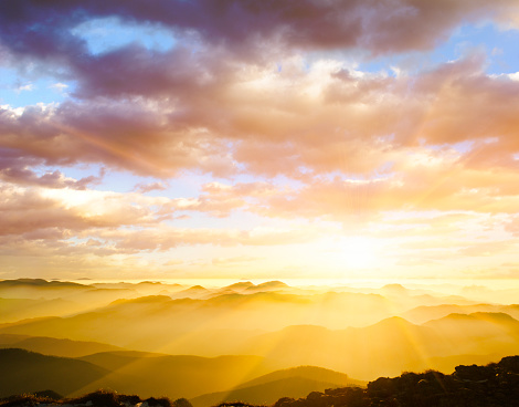 自然の景観「雄大な夕日」:スマホ壁紙(19)