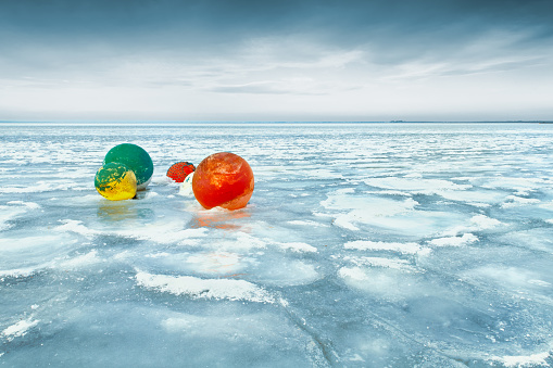 Buoy「Five buoys in a frozen lake, Lac dHourtin-Carcans, Gironde, France」:スマホ壁紙(6)
