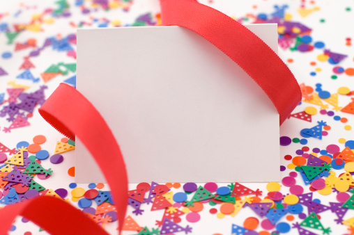 Birthday Card「Party Invitation With Red Ribbon and Confetti.」:スマホ壁紙(6)
