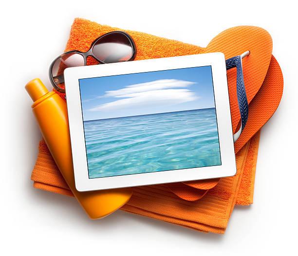 Tablet with beach accessories:スマホ壁紙(壁紙.com)