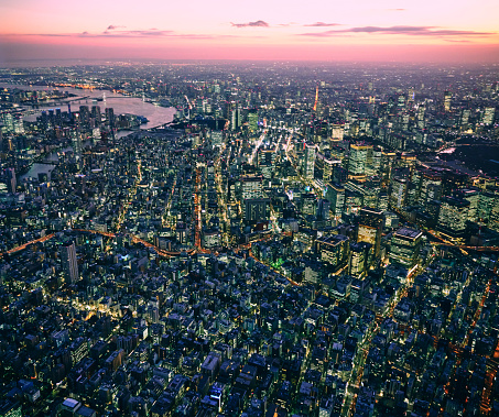 Minato Ward「Tokyo at Night from a Helicopter」:スマホ壁紙(11)