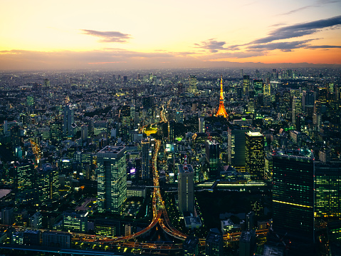 Tokyo Tower「Tokyo at Night from a Helicopter」:スマホ壁紙(11)