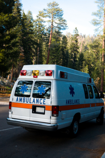 Emergency Services Vehicle「Ambulance driving on road at Sequoia National Park, California」:スマホ壁紙(3)
