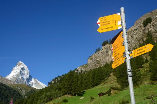 European Alps「Hiking Trail Sign in Zermatt」:スマホ壁紙(14)