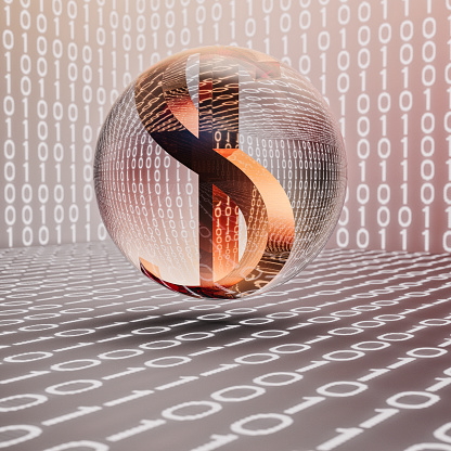 Zero「Dollar sign in glass sphere floating over binary number background」:スマホ壁紙(0)
