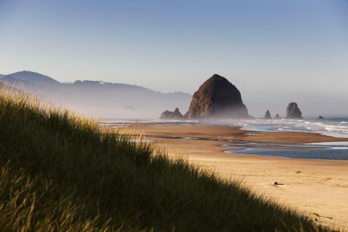 Cannon Beach「Haystack Rock seen from dunes」:スマホ壁紙(11)