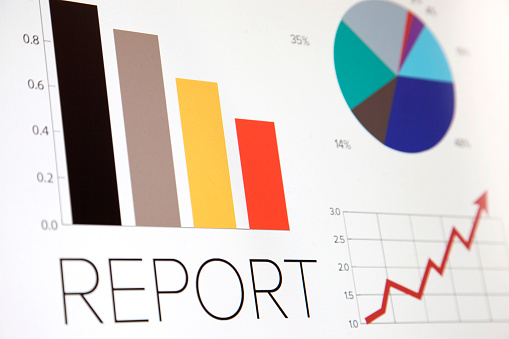 Financial Report「Business graphic of bar chart and pie chart」:スマホ壁紙(15)