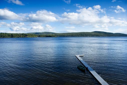 Adirondack Mountains「Pier reaching into lake of Adirondacks, New York」:スマホ壁紙(10)