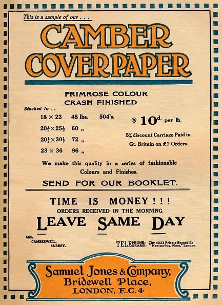 Lithograph「Camber Coverpaper - Samuel Jones & Company Advertisement, 1919」:写真・画像(7)[壁紙.com]