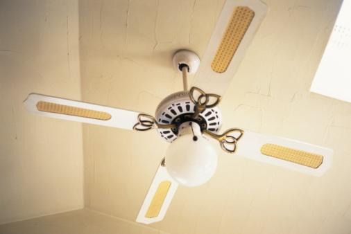 Ceiling Fan「A Ceiling Fan and a Lamp, Low Angle View」:スマホ壁紙(14)