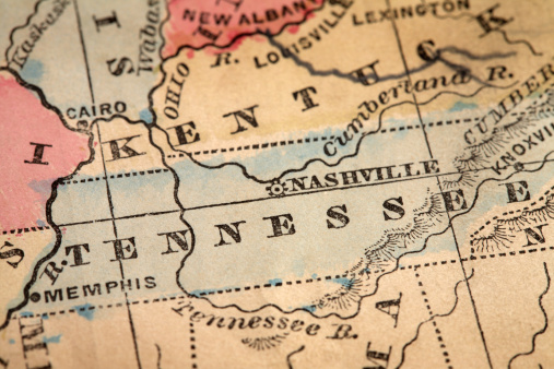 Tennessee「Close-up of the State of Tennessee on a map」:スマホ壁紙(14)