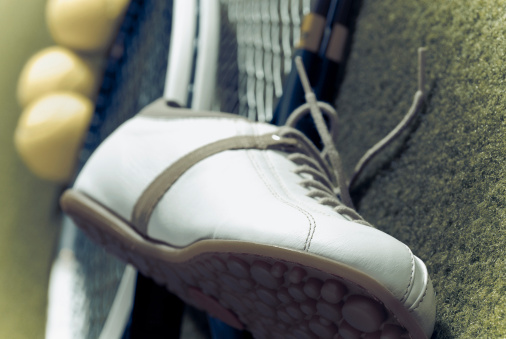 Competitive Sport「Close-up of sports shoe with tennis rackets and tennis balls」:スマホ壁紙(19)