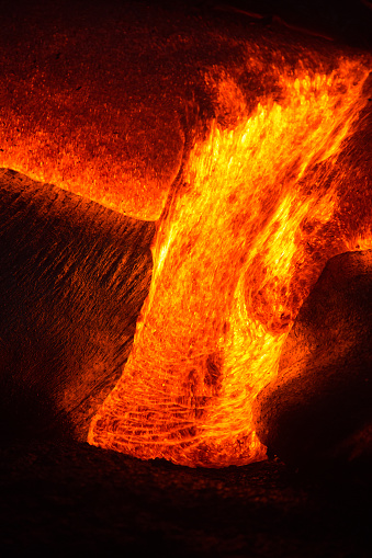 Active Volcano「Close-up of a Lava Flow on a mountain, Hawaii, America, USA」:スマホ壁紙(12)