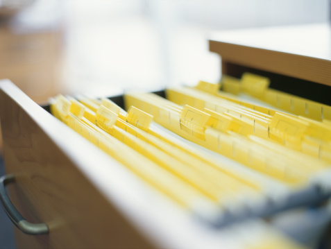 Filing Cabinet「close-up of files in an open drawer in an office」:スマホ壁紙(2)