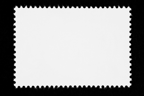 Postage Stamp「Close-up of a blank white stamp, isolated on black」:スマホ壁紙(9)