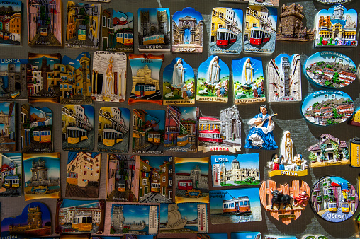 Gift Shop「Close-up of various souvenirs for sale at shop, Portugal」:スマホ壁紙(11)