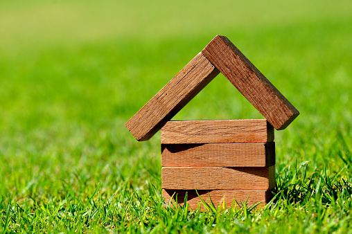 Loan「Close-up of blocks of wood forming a small house on grass」:スマホ壁紙(11)