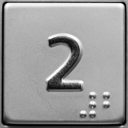 Braille「Close-up of metal push button in elevator for 2nd floor」:スマホ壁紙(8)